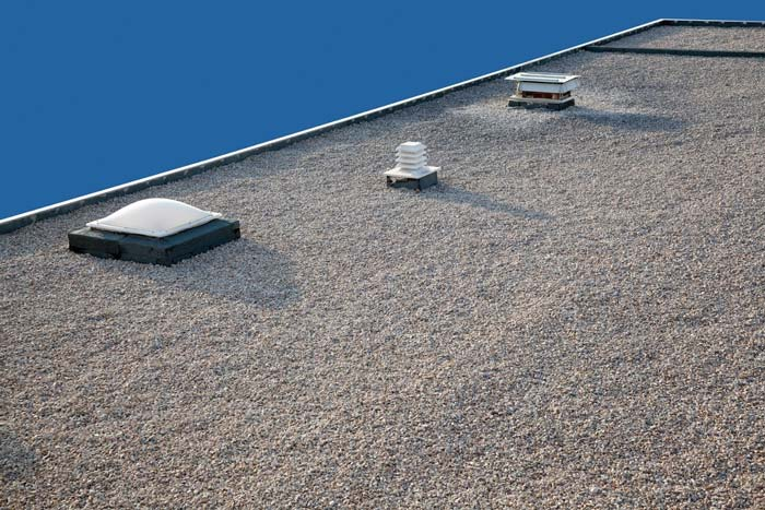 Drainage system on flat roof